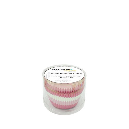 Fox Run Mini Muffin Cups Pink White Wavy 48pk
