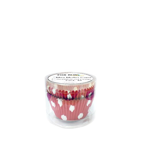 Fox Run Mini Muffin Cups Red & White Dots 48pk