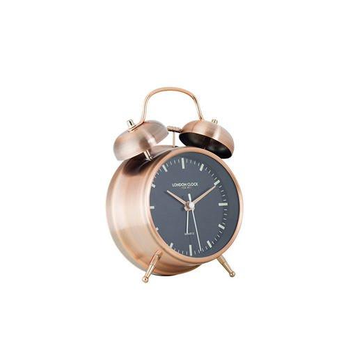 London Clock Company Blaze Spun Copper Finish Twinbell Copper Finish Hands Sweep & Alarm 5.5cm
