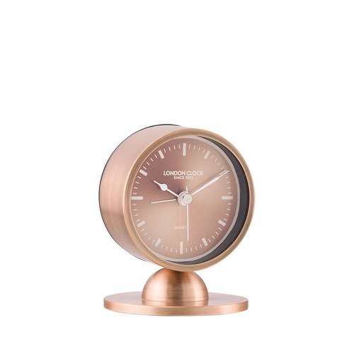 London Clock Company Glimmer Spun Copper Finish Cream Hands Sweep & Alarm 3.5cm
