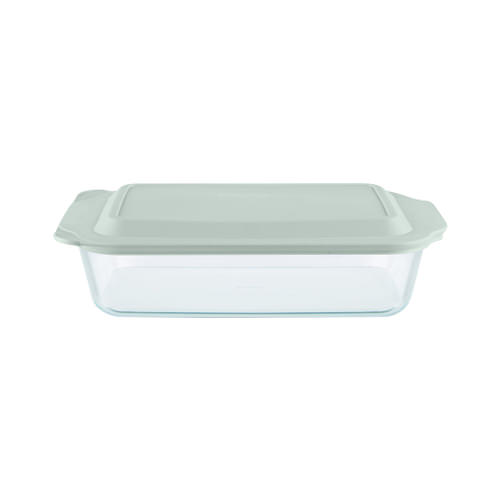 Pyrex Rectangular Deep Dish with Sage Lid 4.7L