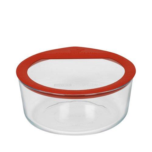 Pyrex Round Glass Storage 1.6L Red