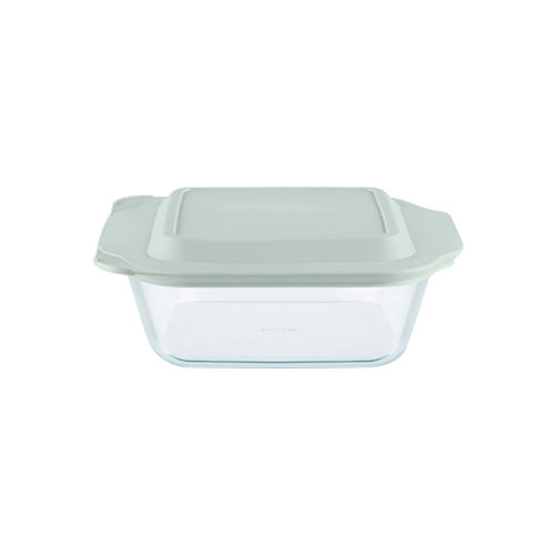Pyrex Square Deep Dish w/ Sage Lid 2.5L