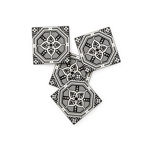 Rapee Coaster Set of 4 Mosaic Flower Black