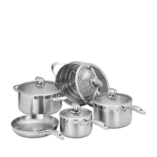 Scanpan Clad 5 5pc Set w/ Steamer, Casserole, Frypan & 2 Saucepans