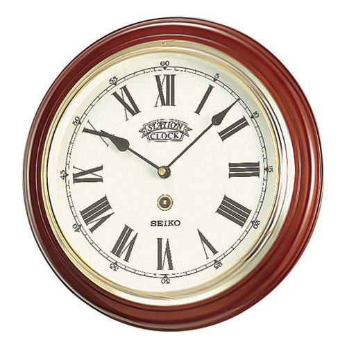 Seiko Roman Numeral Wooden Round Wall Clock 31cm On Sale
