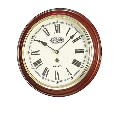 seiko roman numeral wooden round wall clock 31cm on sale now