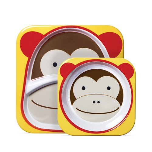 Skip Hop Zoo Melamine Set - Includes Plate & Bowl Monkey