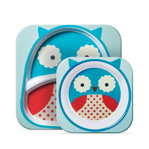 Skip Hop Zoo Melamine Set - Includes Plate & Bowl Owl