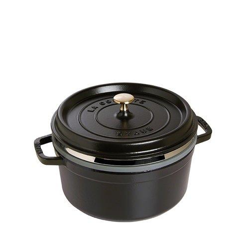 Staub Round Cocotte with Steamer 26cm Black