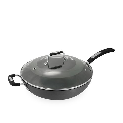 tefal hard anodised wok w lid 32cm on sale now. Black Bedroom Furniture Sets. Home Design Ideas