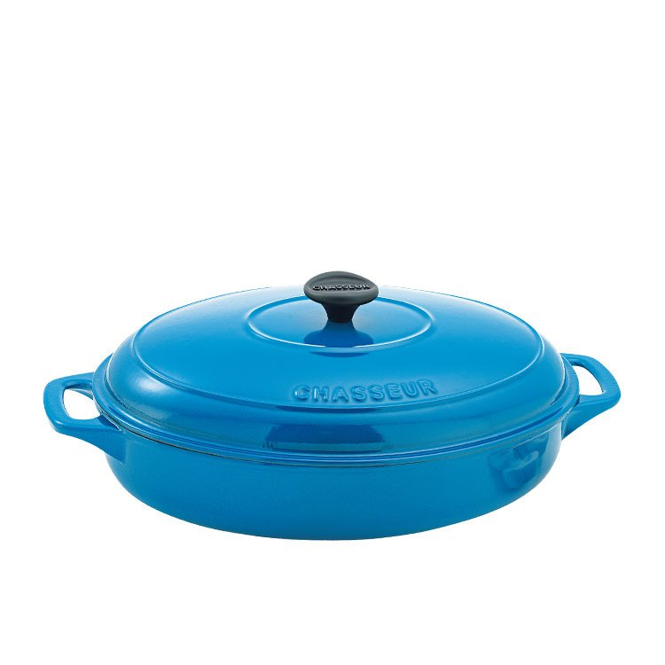 Chasseur Oval Casserole with Lid 31cm - 2.8L Riviera Blue