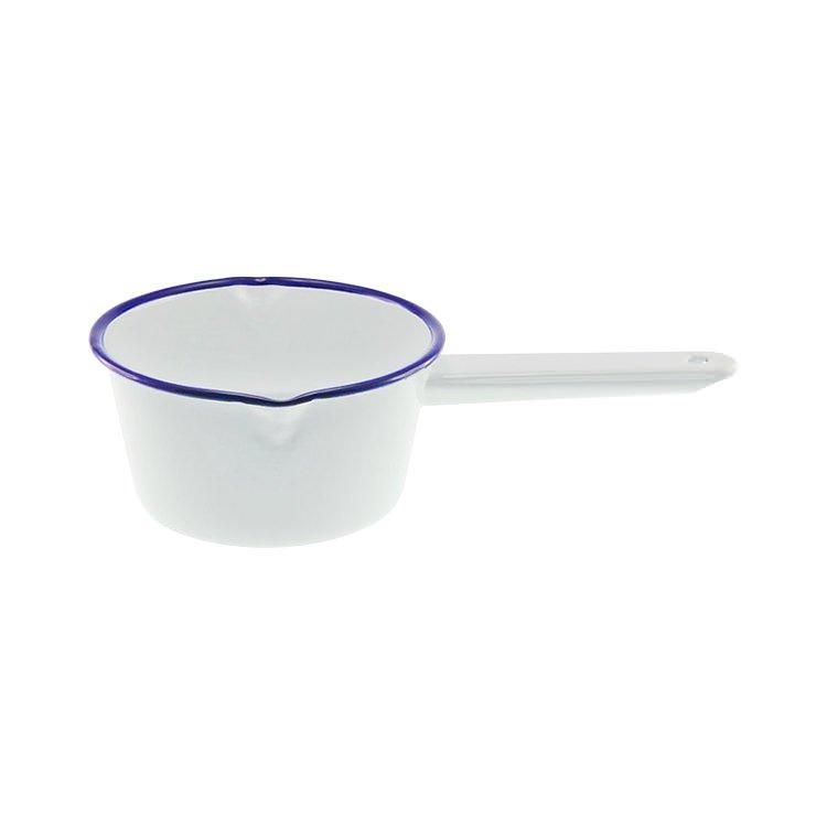Falcon Enamel Milk Pan White/Blue Rim