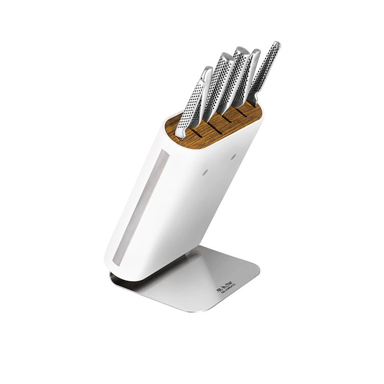 Other New Global Hiro White 7pc Knife Block Set Japanese Knives Stainless Steel For Sale
