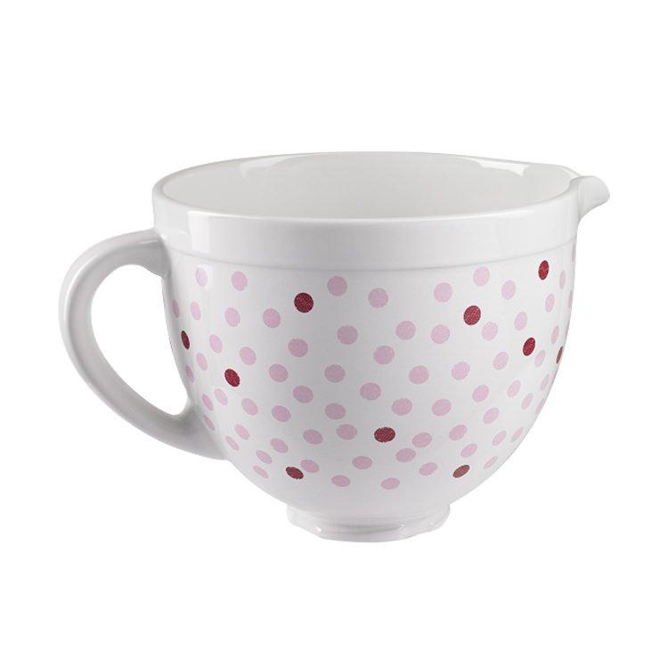 KitchenAid Ceramic Bowl 4.7L Pink Polka Dot