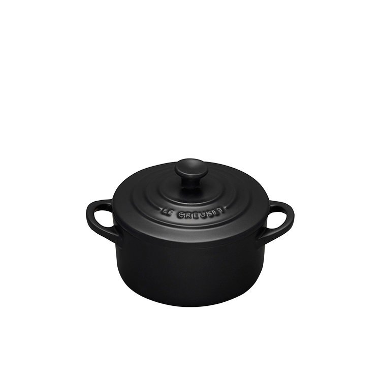 le creuset mini cocotte 10cm satin black on sale now. Black Bedroom Furniture Sets. Home Design Ideas