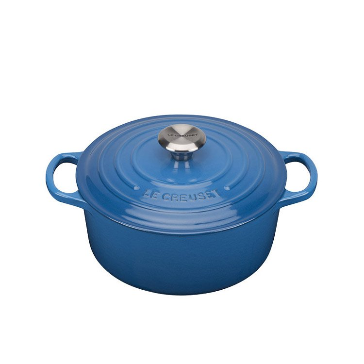Le Creuset Signature Cast Iron Round Casserole 20cm - 2.4L Marseille Blue