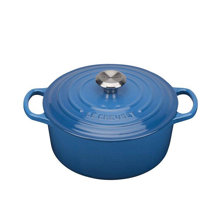 Le Creuset Signature Cast Iron Round Casserole 24cm - 4.2L Marseille Blue