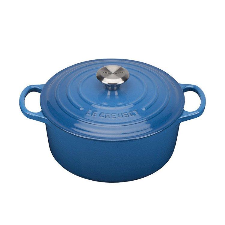 Le Creuset Signature Cast Iron Round Casserole 26cm - 5.3L Marseille Blue