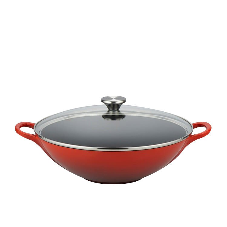 Le Creuset Cast Iron Wok with Glass Lid 32cm Cerise