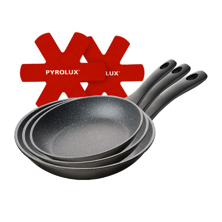 Pyrolux Pyrostone Frypan Set 3pc 20 26 & 30cm with Felt Protectors