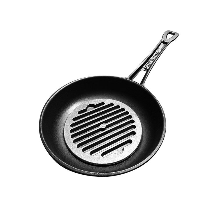 SOLIDTEKNICS Australian Made AUSFonte Cast Iron Set Sauteuse Pan 24cm with Grill-it 18cm