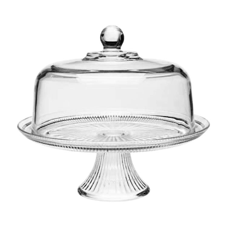 Anchor Hocking Canton Footed Cake Plate & Dome 30cm