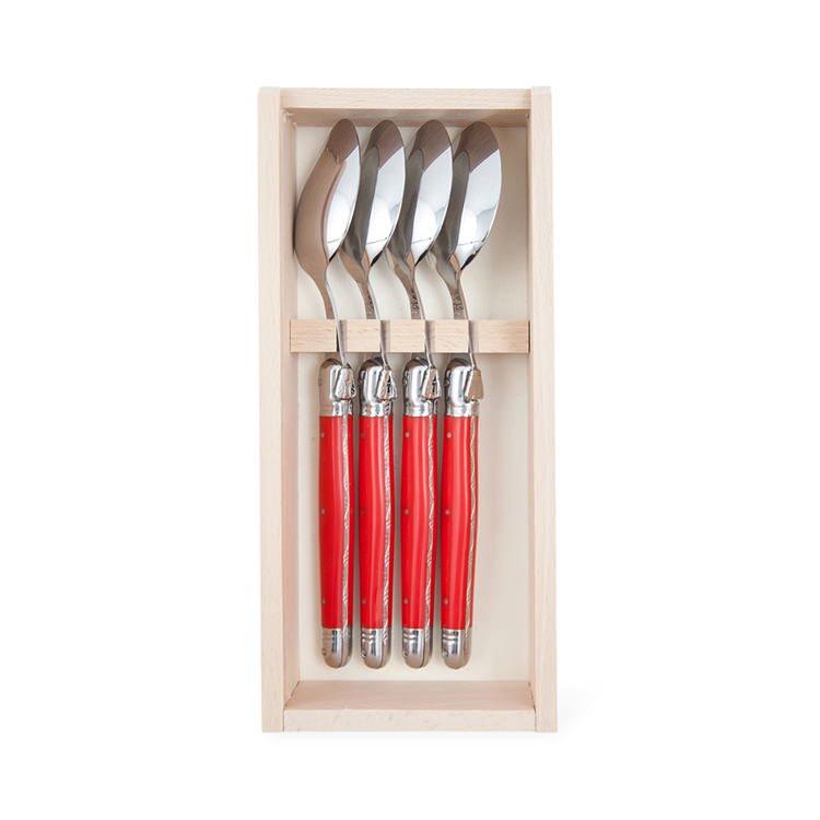 Laguiole by Andre Verdier Classique Dessert Spoons 4pc Red