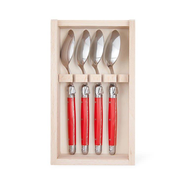 Laguiole by Andre Verdier Classique Tea Spoons 4pc Red