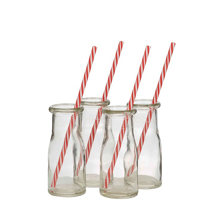 Anna Gare Glass Milk Bottle & Straw Set of 4