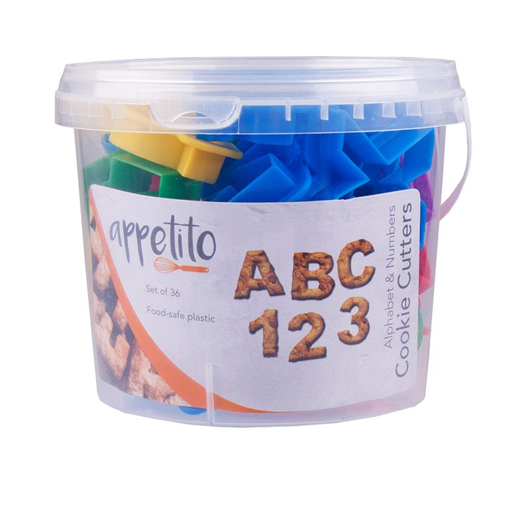 Appetito Alphabet & Number Cookie Cutters in Tub 36pc