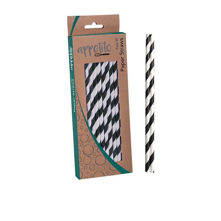 Appetito Paper Straws 50pk Black Stripes