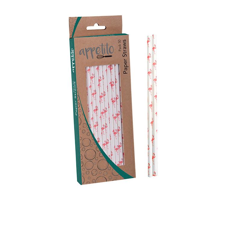 Appetito Paper Straws 50pk Flamingo