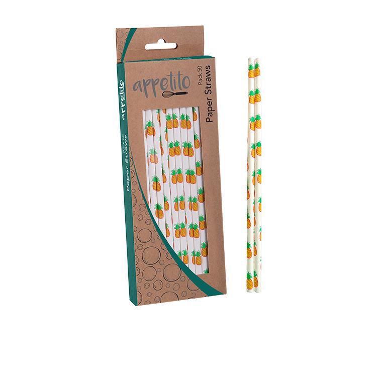 Appetito Paper Straws 50pk Pineapple