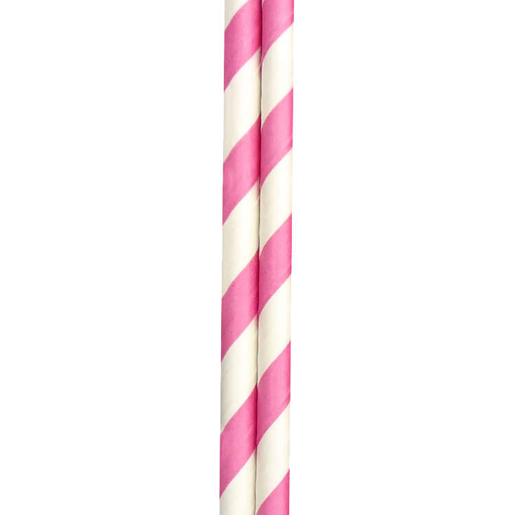 Appetito Paper Straws 50pk Pink Stripes