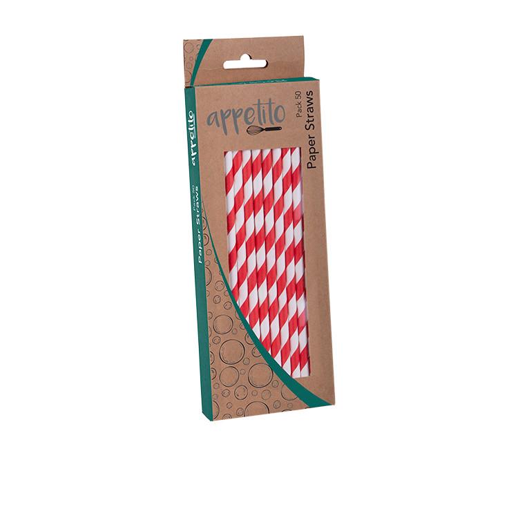 Appetito Paper Straws 50pk Red Stripes