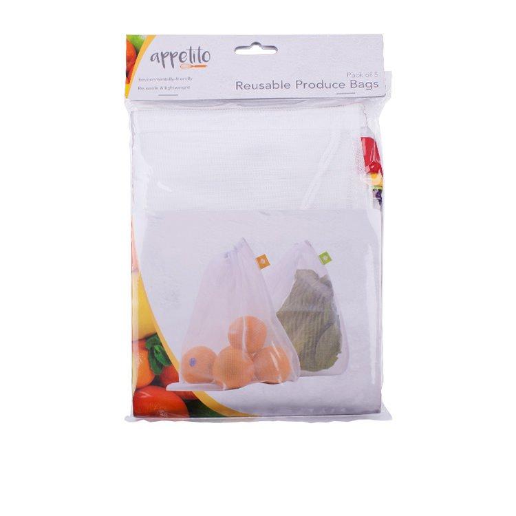 Appetito Reusable Produce Bags 5pk