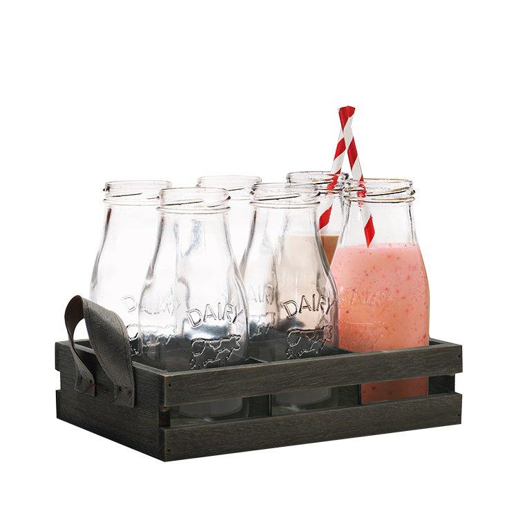 Avanti 6pc Glass Milk Bottle Set w/ Wooden Tray
