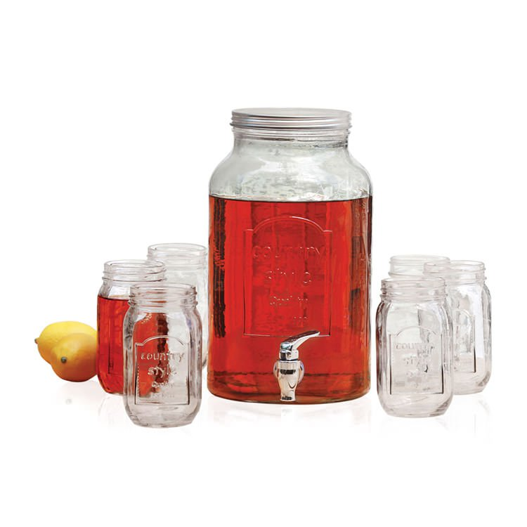Avanti Glass Beverage Dispenser W 6pc Set Mason Jar Buy
