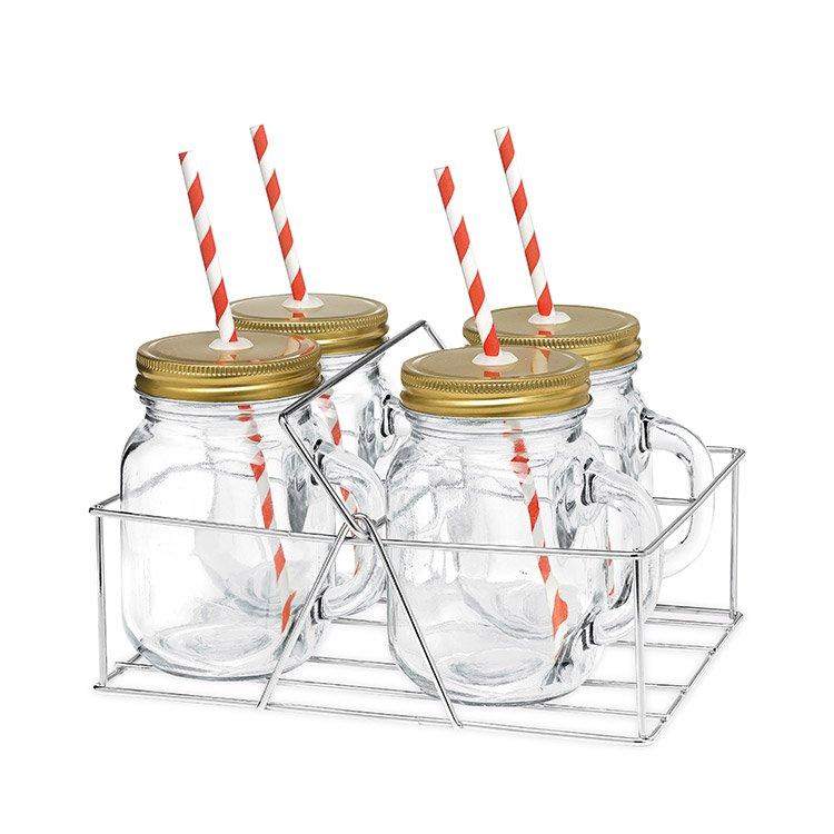 Avanti Mason Jar with Handle and Candy Stripe Straw 4pc Set 400ml