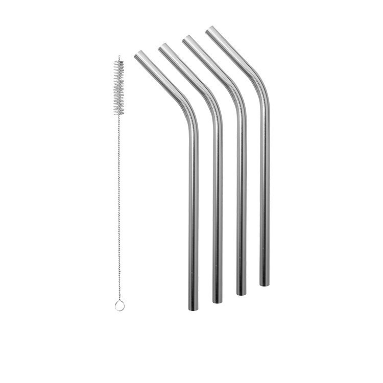 Avanti Smoothie Stainless Steel Straws w/ Cleaning Brush Set of 4