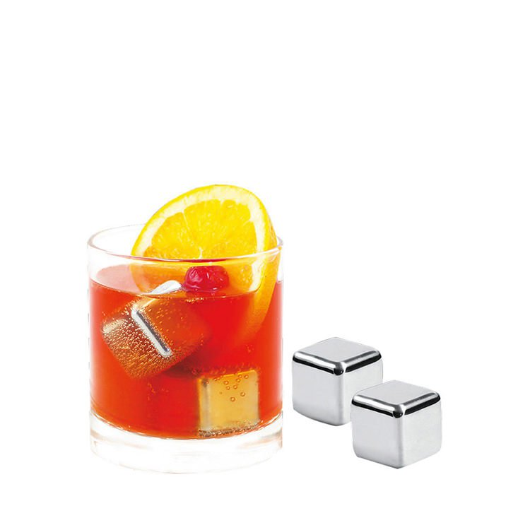 Avanti Stainless Steel Ice Cubes With Velvet Pouch Set of 4
