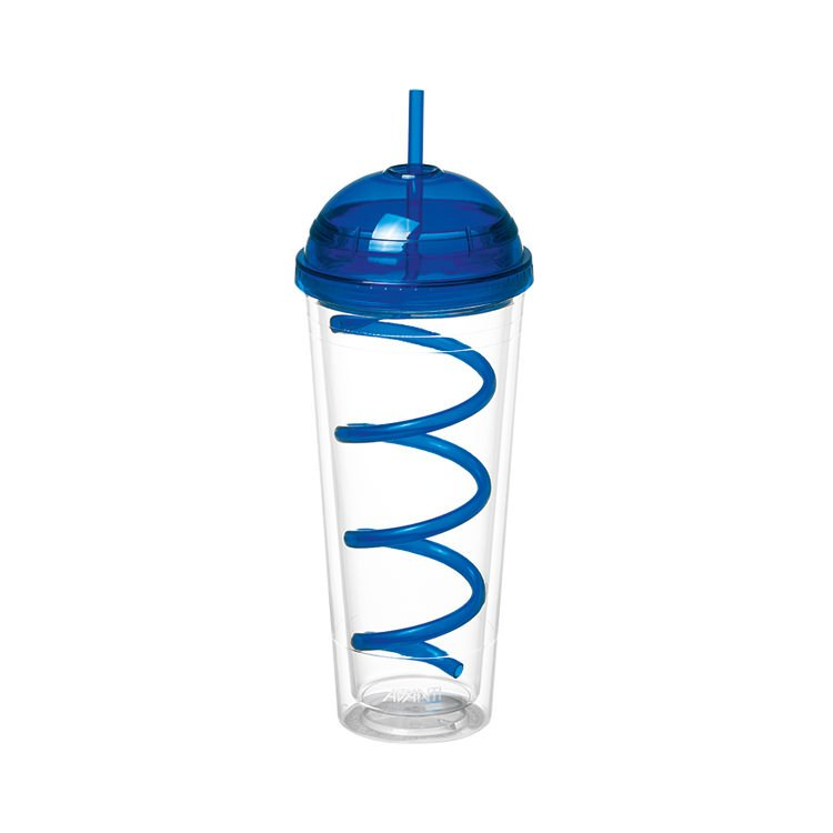 Avanti Twin Wall Tumbler with Spiral Straw 600ml Blue