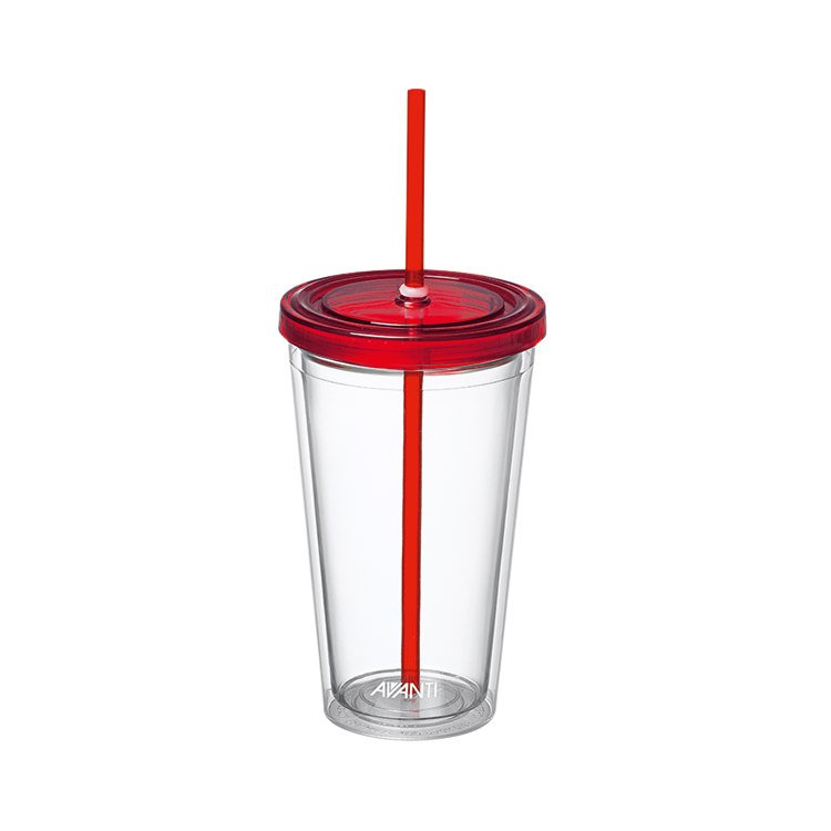 Avanti Twin Wall Tumbler with Straw 500ml Red