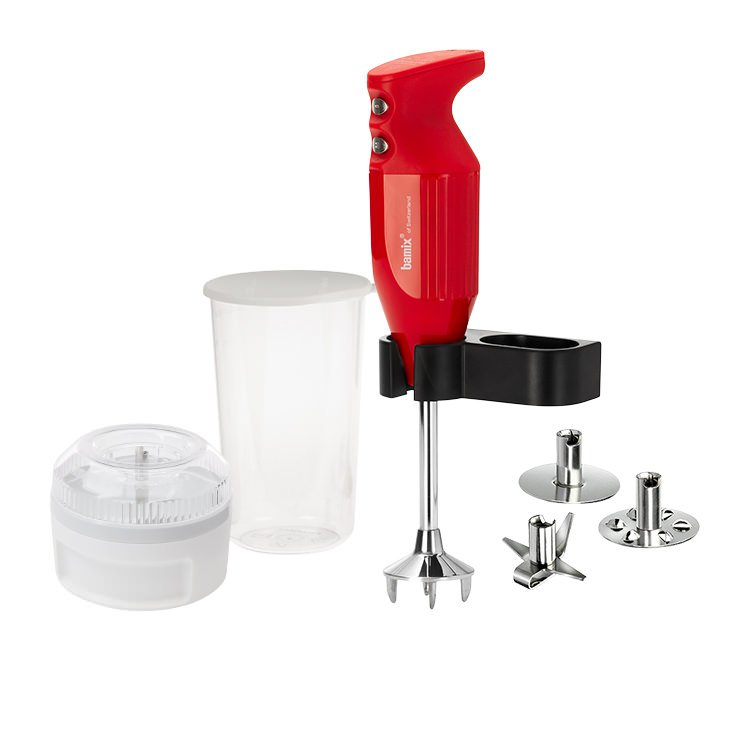 Bamix Mono Blender 140W Red w/ Bonus Wet/Dry Processor