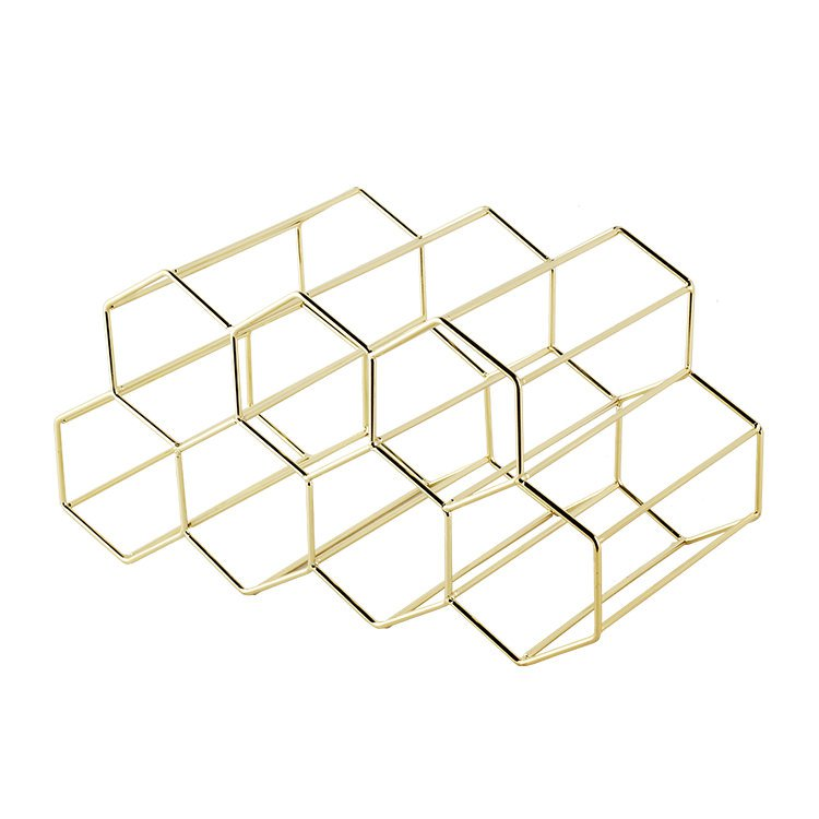 Bartender Hexagonal Wine Rack 9 Bottle Gold