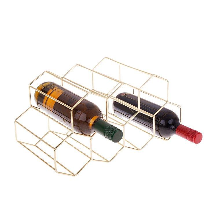 Bartender Hexagonal Wine Rack 9 Bottle Gold