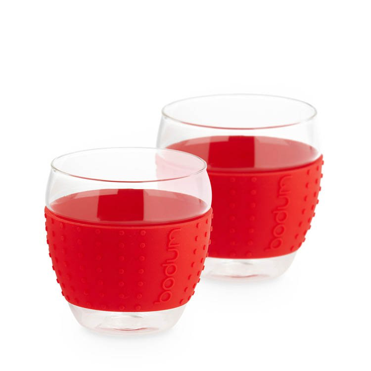 Bodum Pavina 2pc Glass Set w/ Silicone Band 350ml - Red