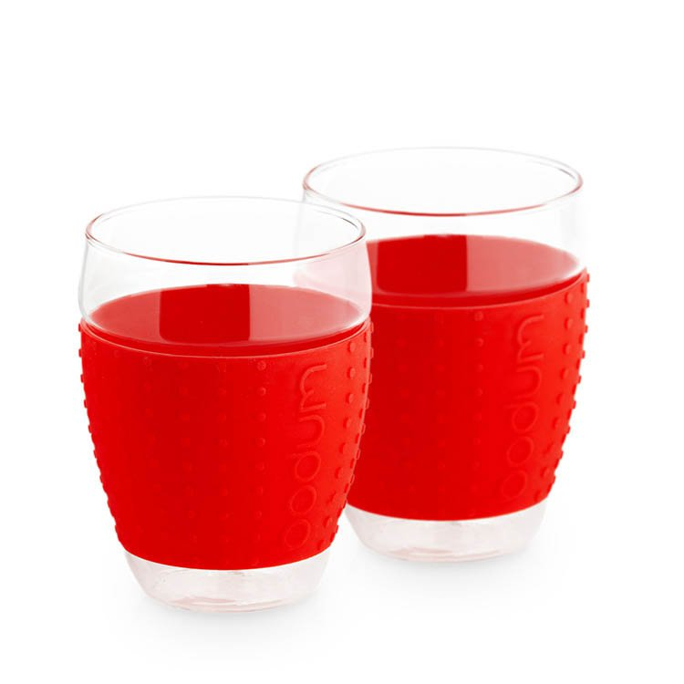 Bodum Pavina 2pc Glass Set w/ Silicone Band 450ml - Red
