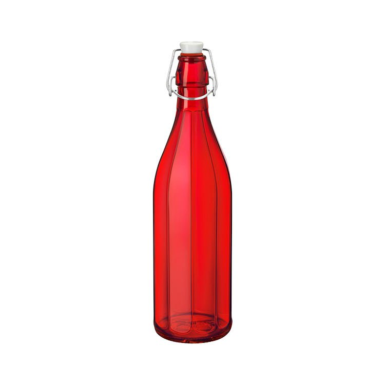 Bormioli Rocco Oxford Bottle with Top 1L Red
